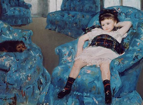 little girl in a blue armchair little girl in a blue armchair painting by mary stevenson