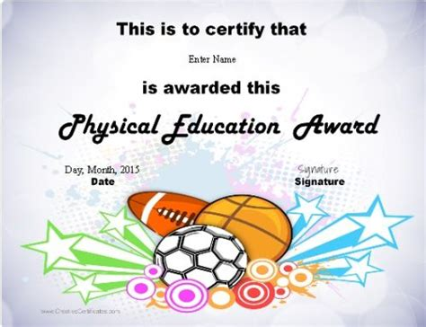 physical education certificates samweiss pe certification physical education