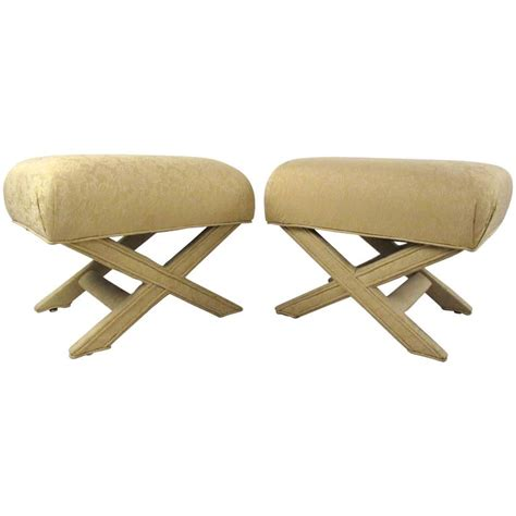 Ottoman Frames To Upholster Pair Of Vintage Quot X Quot Frame Upholstered Ottomans For Sale At 1stdibs