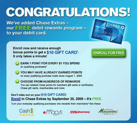 Chase Bank Gift Cards - chase extras debit rewards program free 10 gift card banking deals