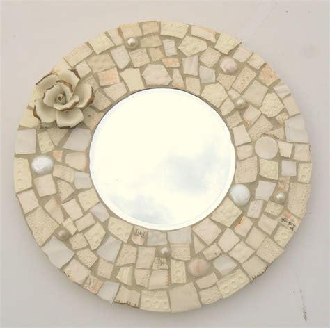 mosaik spiegel winter white broken china mosaic mosaic mirror