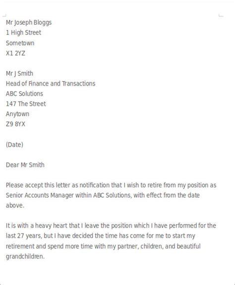 Resignation Letter Exles For Retirement Sle Retirement Resignation Letter 6 Exles In Pdf