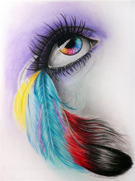 Color Feather Eye By Witchiart On Deviantart Colour Drawing For