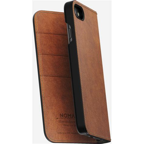 nomad leather folio case  iphone  rustic brown