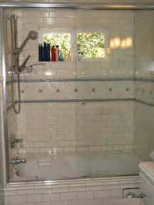 Subway Tile Bathroom Shower Blue Glass And White Subway Tile S Tub Shower Traditional Bathroom Los Angeles By