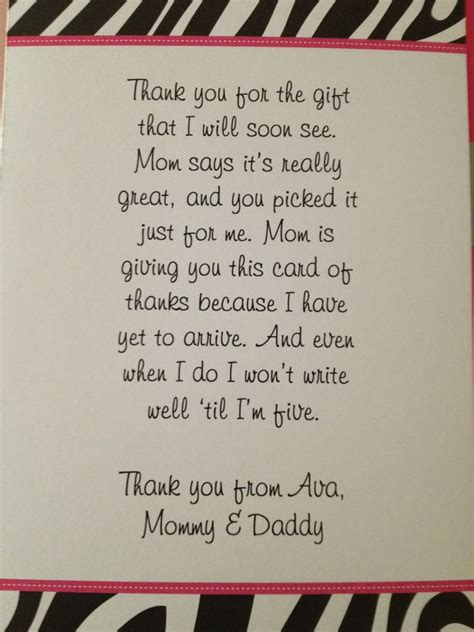 thank you letter newborn gift thank you cards for baby shower gifts wblqual