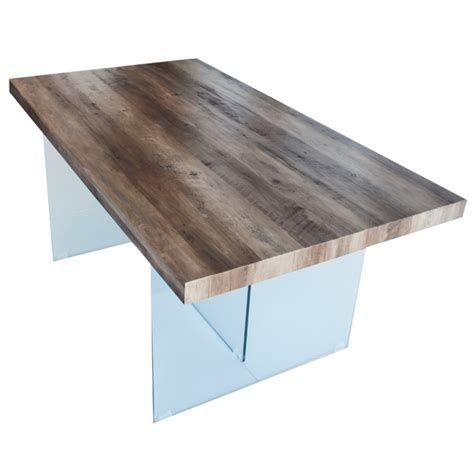 Table De Salle A Manger En Verre 155 by Table 224 Manger Plateau En Mdf Bois Pieds En Verre