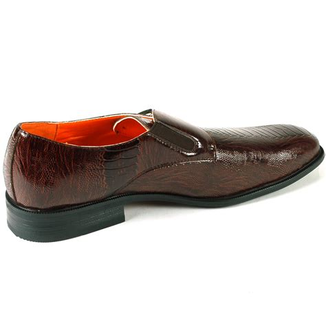 mens loafers with buckle mens monk loafers slip on faux snakeskin metal