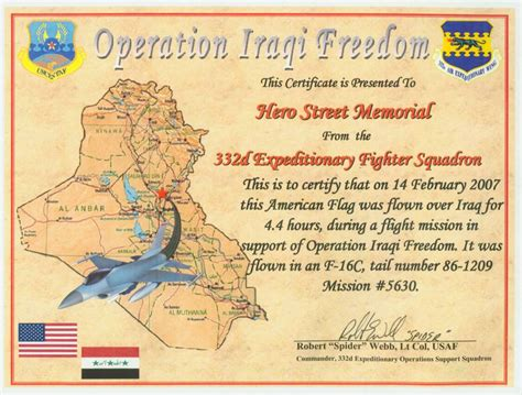 American Flag Flown Over Iraq Flag Certificate Template