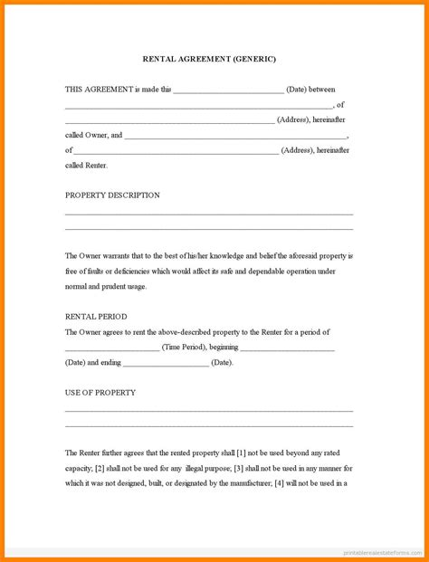 9 Free Printable Basic Rental Agreement St Columbaretreat House Free Blank Lease Agreement Template