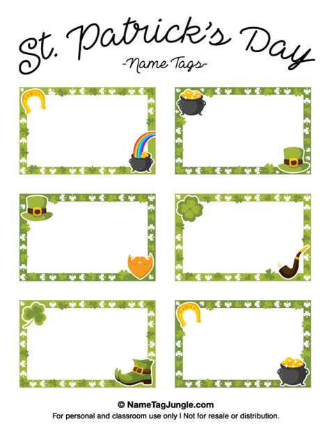 st templates printable st s day name tags