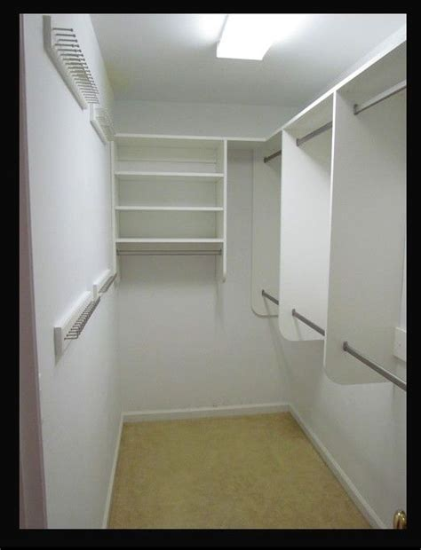 Narrow Closet Ideas by Narrow Walk In Closet Idea Take Out The Middle Bar Section Replace With The Shelving Unit