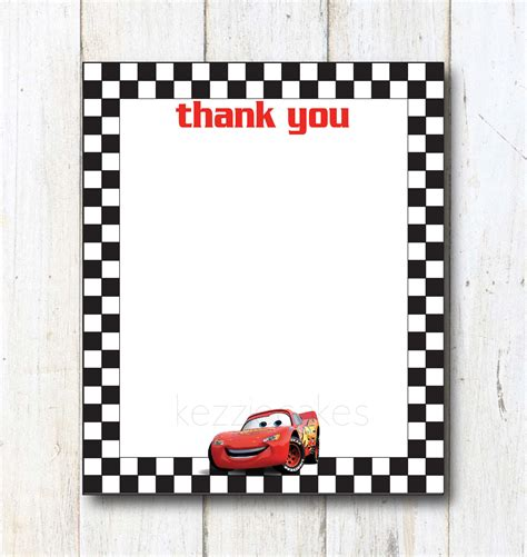 Lightning Mcqueen Thank You Cards Printable