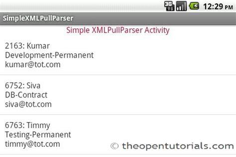 android tutorial xml parsing android simple xmlpullparser tutorial 187 the open tutorials