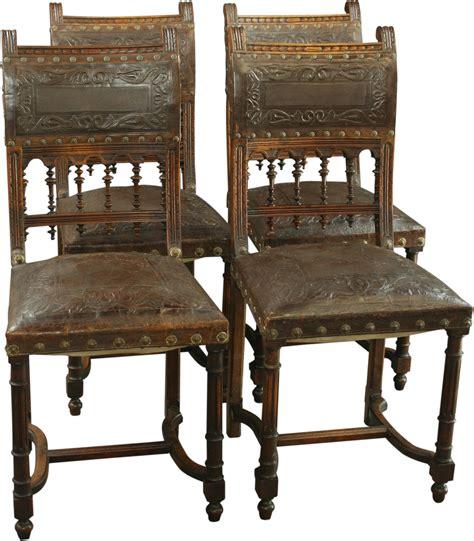 Antique Walnut Dining Chairs Antique Walnut Renaissance Henry Ii Dining Chair Set 4 Leather Steunk Ebay