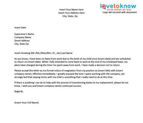 Resignation Letter After Maternity Leave Sle Canada Template For A Resignation Letter After Maternity Leave Lovetoknow