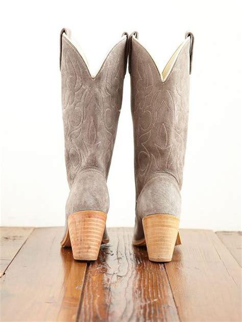 free vintage suede cowboy boots in gray grey lyst