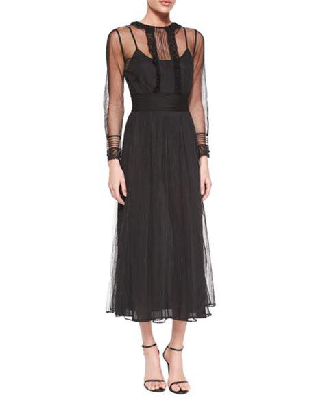 Sleeve Midi Chiffon Dress valentino sleeve chiffon midi dress neiman