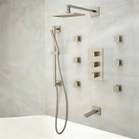 Bathroom Hardware Ideas by Onassis Thermostatic Tub Amp Shower System 6 Body Sprays