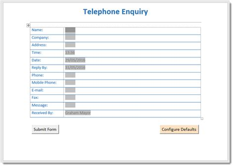 enquiry form template telephone enquiry template