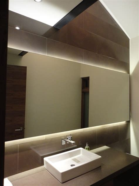 Bathroom Backlit Mirrors Backlit Mirror Powder Room Contemporary Powder Room Denver By 186 Lighting Design