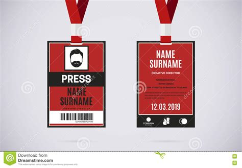 design name tag cdr press id card set vector design illustration stock vector