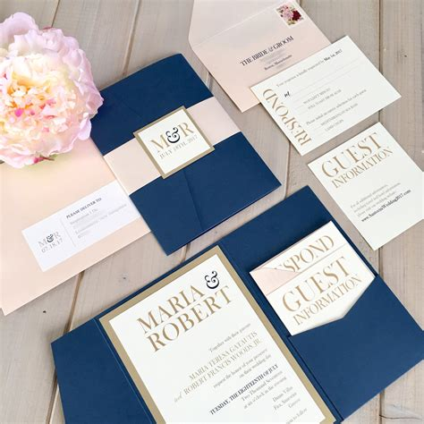Wedding Invitations Navy And Gold by Navy Blush And Gold Wedding Invitations Navy And Pink