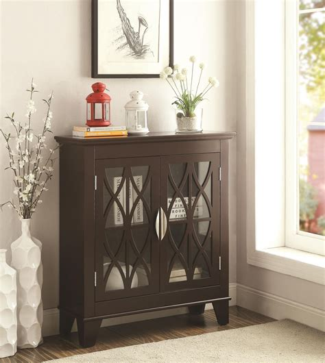 accent cabinet with glass doors 950311 glass doors cappuccino accent cabinet from coaster