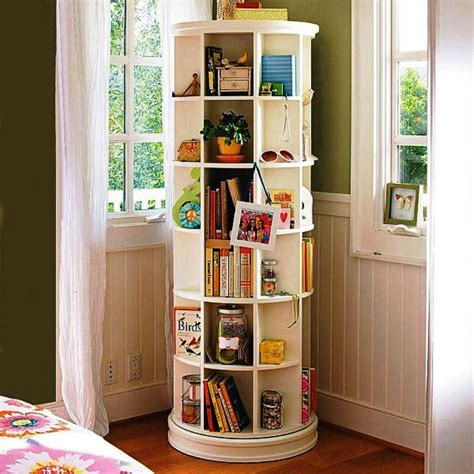 revolving bookcase spinning storage shelf throughout