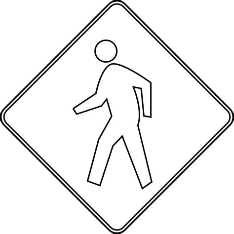 Road Sign Outlines by Pedestrian Crossing Outline Clipart Etc