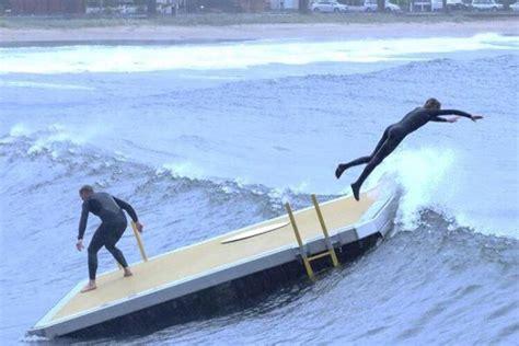 used pontoon boats kingston kingston beach surfers ride pontoon after wild weather