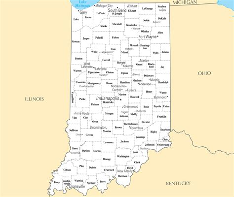 map of with major cities detailed administrative map of indiana state with major