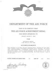 Air Commendation Medal Template by Army Achievement Medal Certificate Form Number