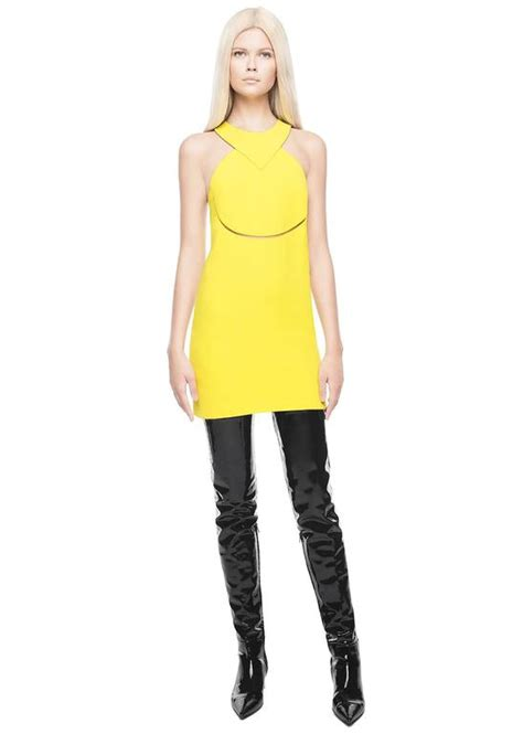 Versacedress With Cut Out Detail versace yellow silk halterneck dress with cut out for sale