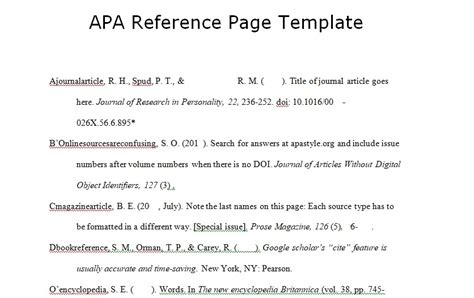 reference section apa format download apa reference page template spreadsheettemple