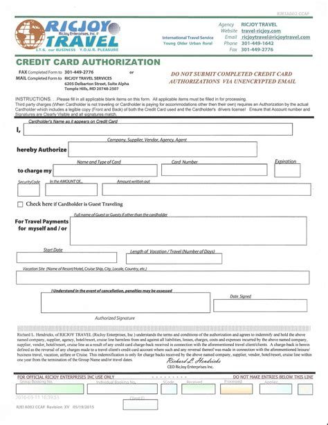 credit card authorization form template for travel agency forms