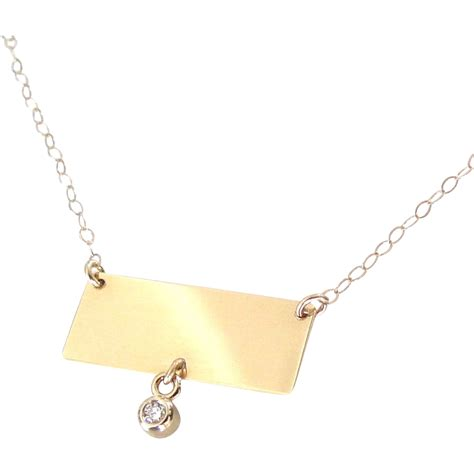 14k gold nameplate necklace rectangle with drop
