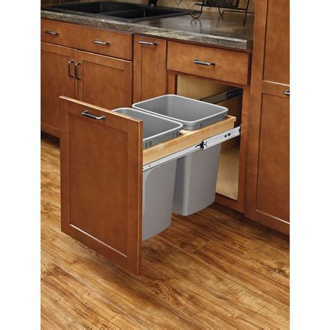 double 35 qt top mount wood pull out trash containers rev rev a shelf 17 875 in h x 15 in w x 22 75 in d double