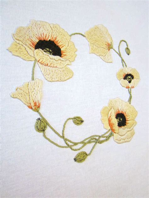 Handmade Embroidery Patterns - yellow wreath 8 stitching patterns floral embroidery