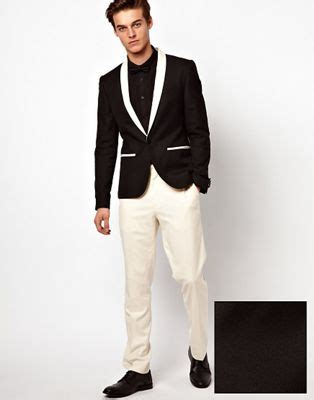 19642 White Black Suit asos slim fit tuxedo suit black jacket white trousers