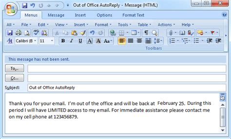 auto reply email template how to set out of office auto reply in outlook 2003