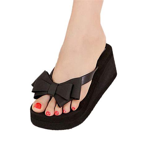 Sandal Wedges Wg15 1 vsen summer black summer sandals for knot bow wedges flip flops shoes