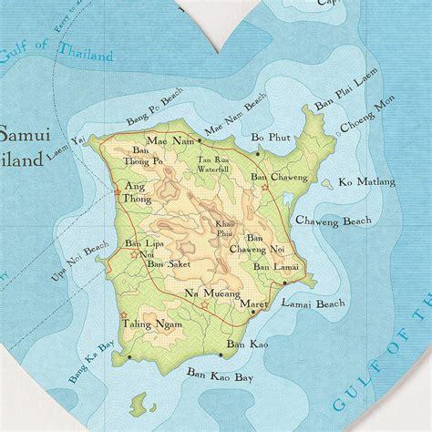 printable map koh samui ko samui map heart print honeymoon gift by bombus off the