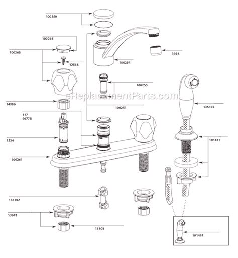 moen kitchen faucet parts diagram moen ca87681 parts list and diagram ereplacementparts