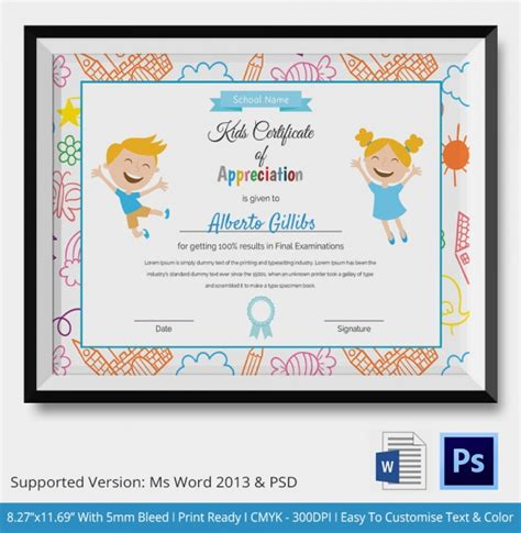 certificate templates for children participation certificate for www pixshark