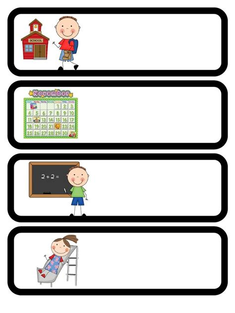 Free Classroom Picture Card Templates Printable by 6 Best Images Of Printable Daily Schedule Cards