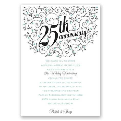 25th Anniversary Invitations Templates forever filigree 25th anniversary invitation invitations by