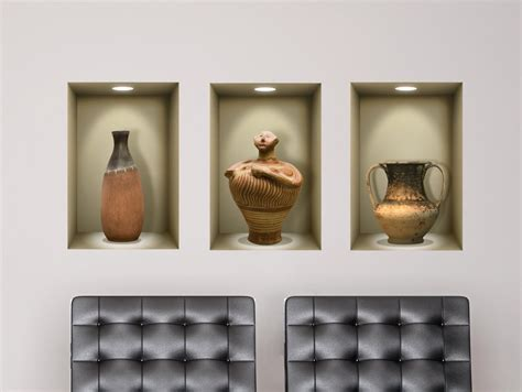 Wallsticker 3 D 3d niche wall decal ancient vases for living