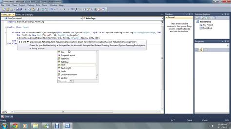 youtube tutorial vb net vb net tutorials additions to projects 4 printing