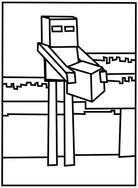 minecraft coloring pages all mobs printable minecraft enderman coloring pages misc